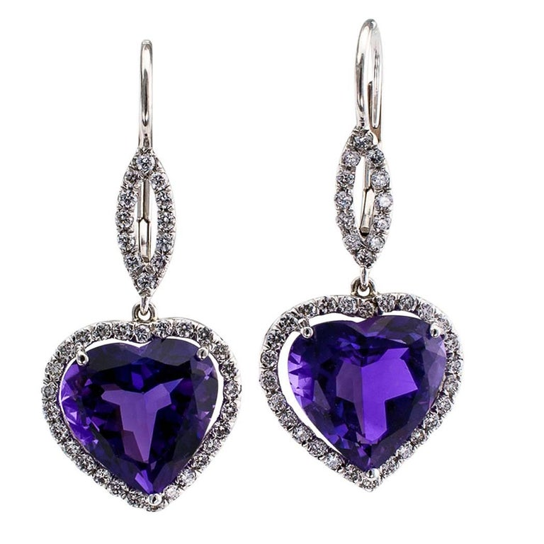 Heart Shaped Amethyst Diamond Platinum Earrings