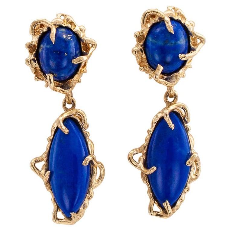 1970s Lapis Lazuli Gold Pendent Drop Earrings