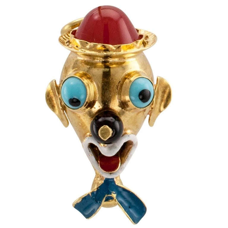 Clown Head Charm Pendant Carnelian Enamel Gold