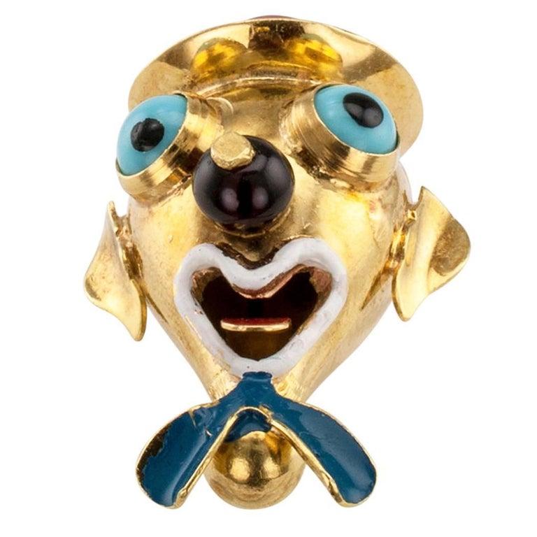 Clown Head Charm Pendant Carnelian Enamel Gold In Good Condition For Sale In Los Angeles, CA