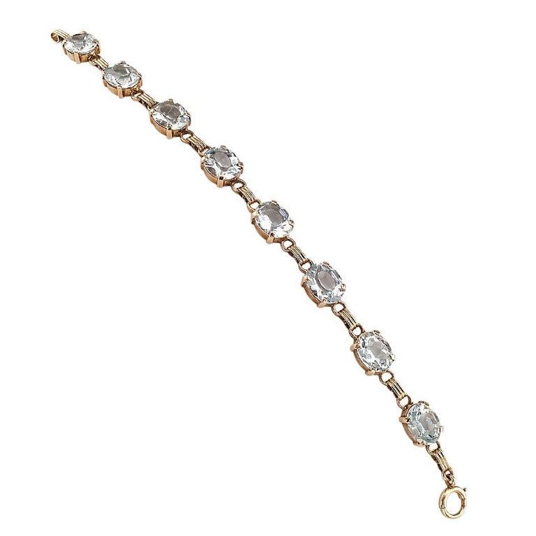 Modern 1950s Aquamarine Gold Line Bracelet For Sale