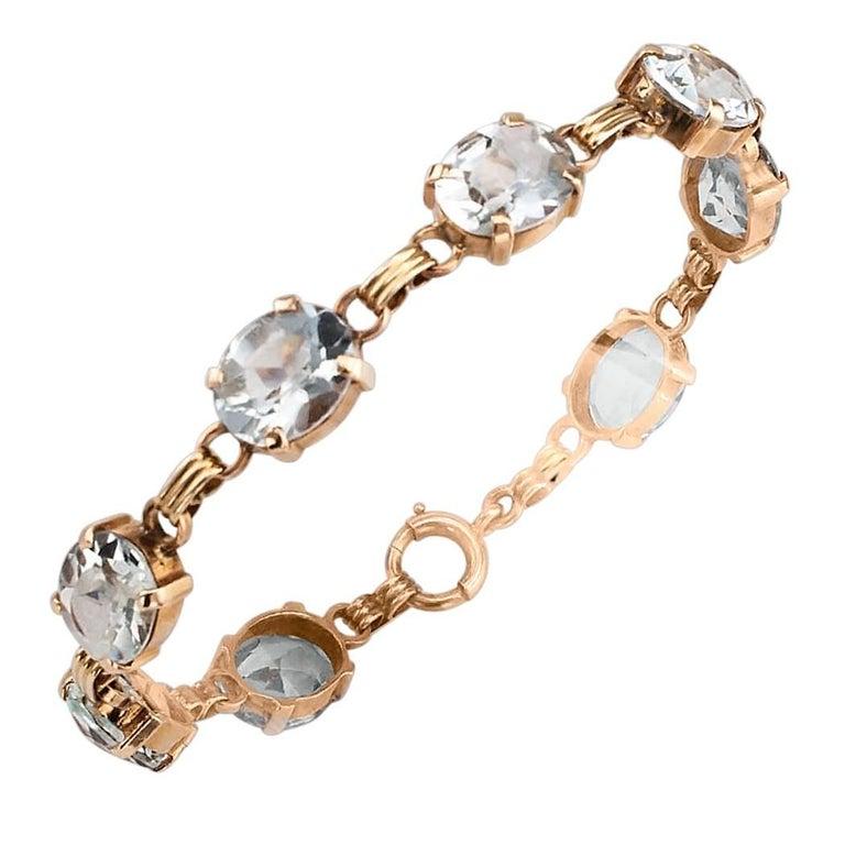 1950s Aquamarine Gold Line Bracelet For Sale