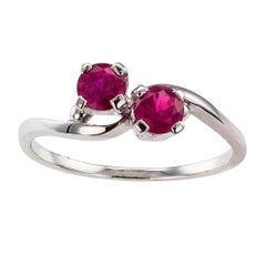 Midcentury 1950s Twin Ruby Gold Ring