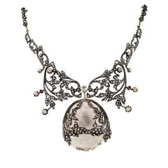 Victorian 1890s Diamond Rock Crystal Ruby Silver Gold Necklace