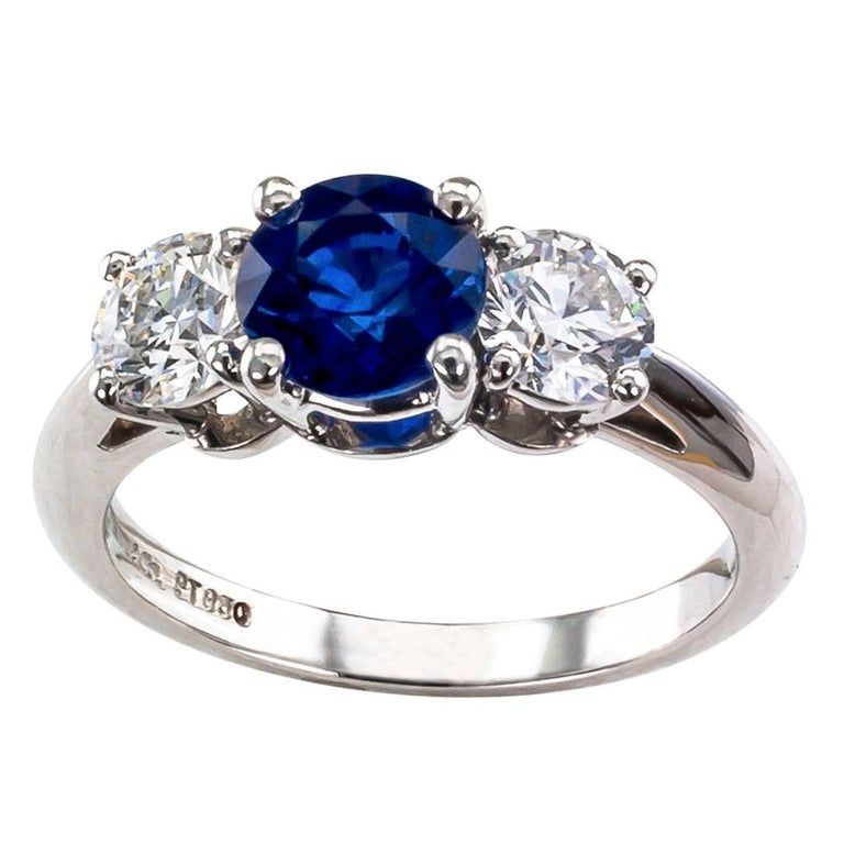Tiffany & Co. Sapphire Diamond Three-Stone Platinum Ring