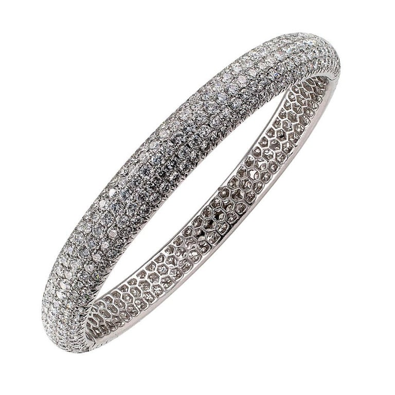Elegant Pave Diamond White Gold Bangle Bracelet
