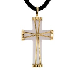 1960s Carved Rock Crystal Gold Cross Pendant