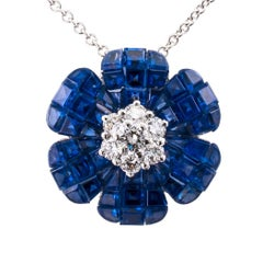 Invisibly Set Sapphire Diamond White Gold Flower Pendant