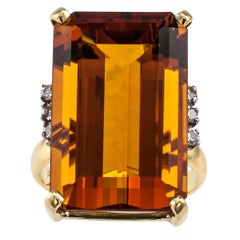 Emerald Cut Madeira Citrine Diamond Gold Cocktail Ring