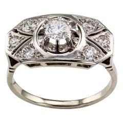 1940s Diamond White Gold Engagement Ring