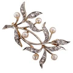 Edwardian 1910 Diamond Pearl Platinum Gold Brooch