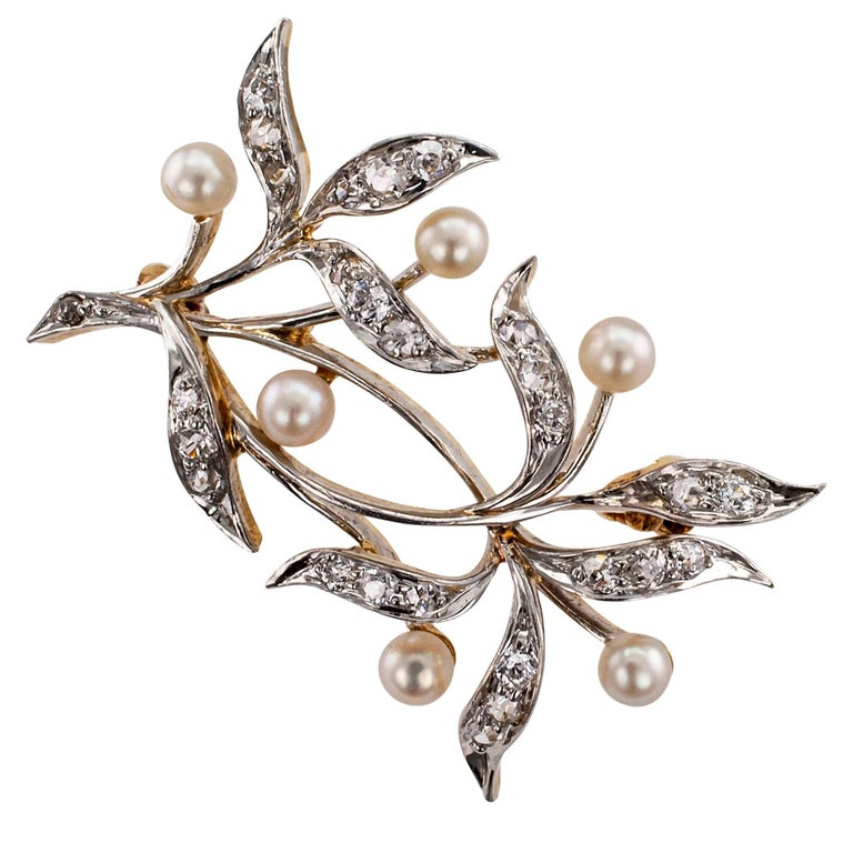 Edwardian 1910 Diamond Pearl Platinum Gold Brooch