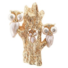 Ruser 1950s Owls Gold Platinum Pearl Diamond Brooch