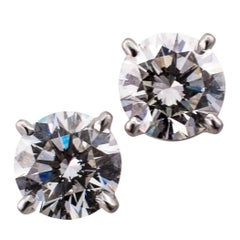 1.35 Carat Diamond Stud White Gold Earrings