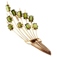 Midcentury 1950s Green Tourmaline Gold Brooch