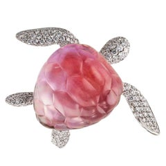 Vhernier Turtle Brooch Pink Mother-of-Pearl Rock Crystal Diamond Gold