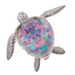 Vhernier Turtle Brooch Opal Rock Crystal Diamond Gold