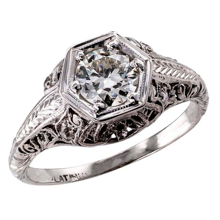 Art Deco 0.55 Carat Diamond Platinum Engagement Ring