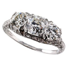 1925 Art Deco Three-Stone Old European Cut Diamond Platinum Ring
