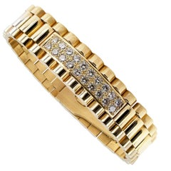 Gentleman's Diamond Gold Link Bracelet