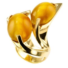 Modernist Honey Color Tiger Eye Gold Ring
