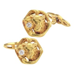 Art Nouveau 1905 Lion Head Cufflinks Diamonds Gold