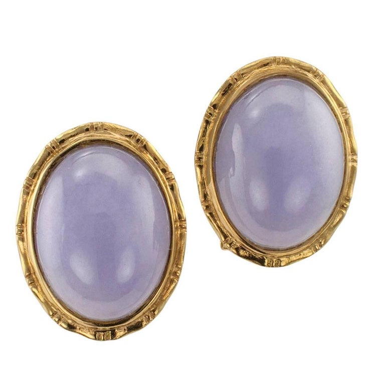 1980s Lavender Jade Gold Earrings