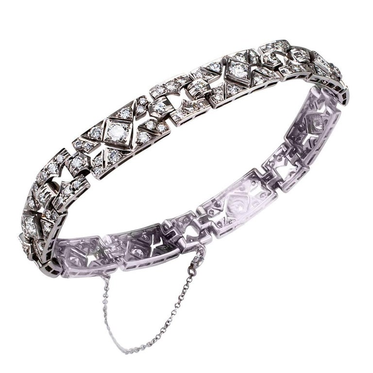 Modern Art Deco Style  4.25 Carat Diamond Platinum Bracelet