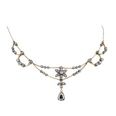 Victorian 1890s Diamond Gold Silver Necklace