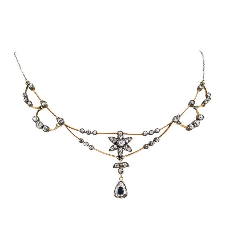 Victorian 1890s Diamond Gold Silver Necklace