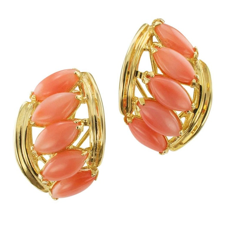 Estate 1980s Salmon-Pink Coral Gold Earrings