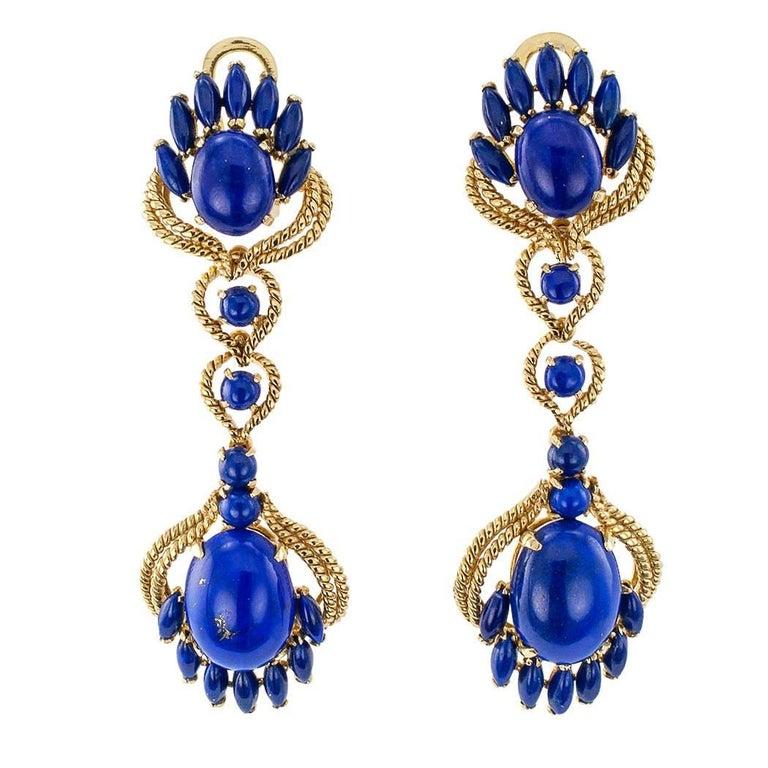 Long Lapis Lazuli Gold Pendent Earrings