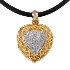 Heart Shaped Diamond Gold Locket