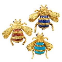 Trio Bee Brooches Enamel Ruby Sapphire Gold