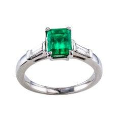 Emerald Cut Colombian Emerald Diamond Platinum Ring