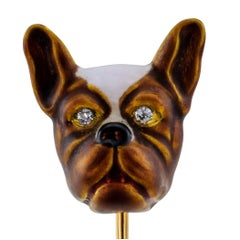 Victorian 1890s French Bulldog Enamel Diamond Gold Stick Pin