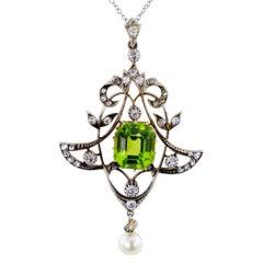 Victorian 1880s Peridot Diamond Pearl Silver Gold Lavalier
