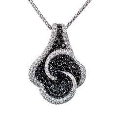 Black Diamond White Diamond Gold Slide Pendant