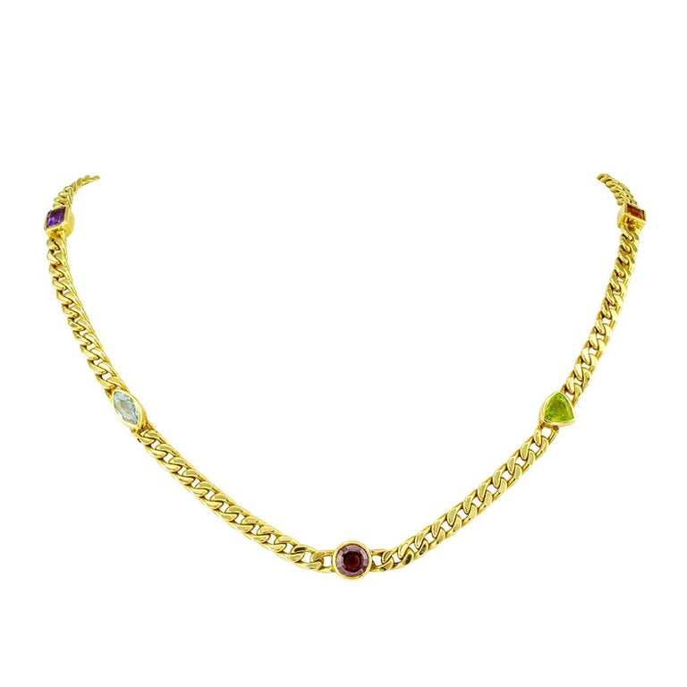 Colored Gemstone Gold Link Necklace