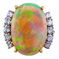 Opal Diamond Gold Cocktail Ring