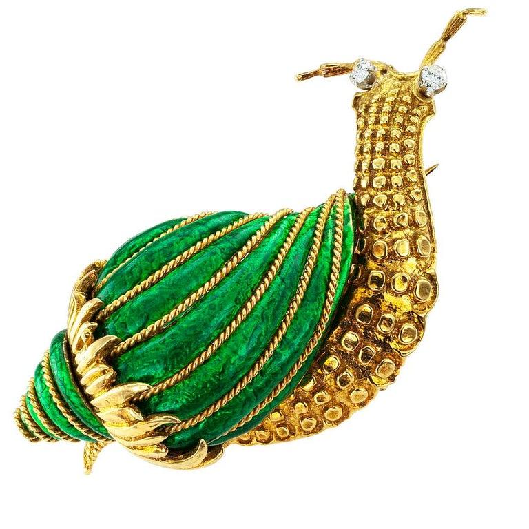 Modern David Webb Snail Brooch Green Enamel Diamond Gold For Sale