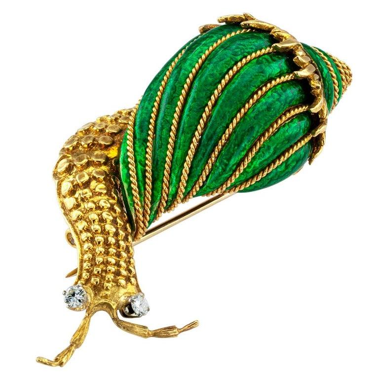 Round Cut David Webb Snail Brooch Green Enamel Diamond Gold For Sale