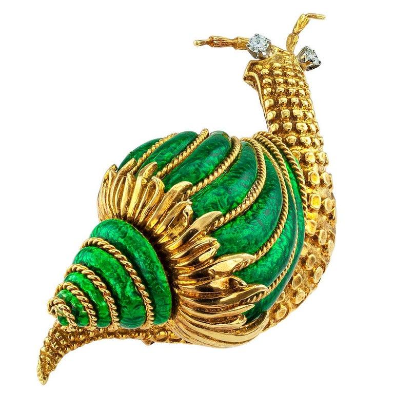 David Webb Snail Brooch Green Enamel Diamond Gold For Sale