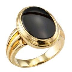 1950s Gentleman's Onyx Gold Ring
