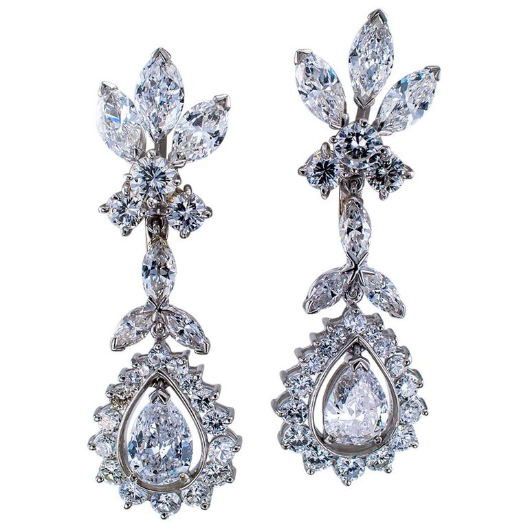 1950s Diamond Drop Platinum Earrings