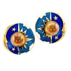 Sun Moon Star Enamel Citrine Gold Earrings by Cellini