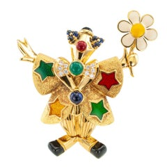 Chaumet Clown Brooch Diamonds Enamel Green Onyx Sapphire Gold