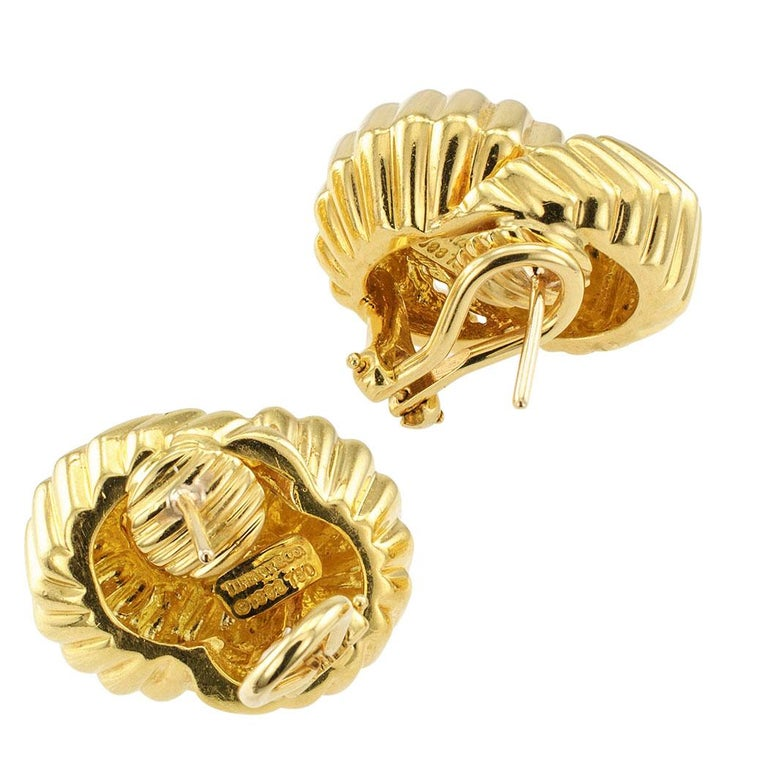 Contemporary Tiffany & Co. Cordis Gold Earrings For Sale