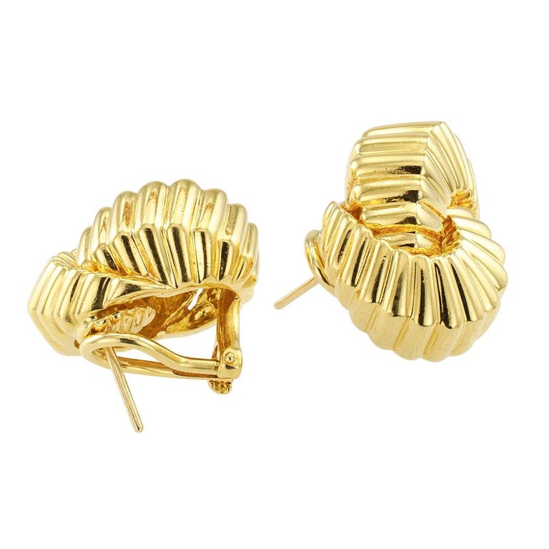 Tiffany & Co. Cordis Gold Earrings In Excellent Condition For Sale In Los Angeles, CA