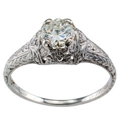 Art Deco 0.57 Carat Diamond Solitaire Platinum Engagement Ring